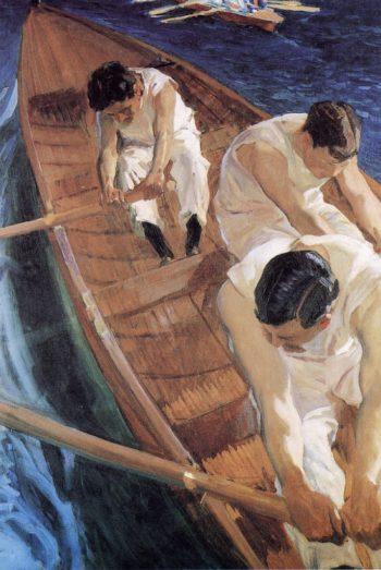 In the Racing Shell | Joaquin Sorolla y Bastida | oil painting