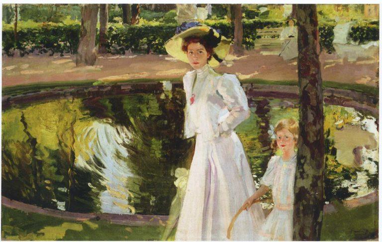 Marian in the gardens la Granja | Joaquin Sorolla y Bastida | oil painting