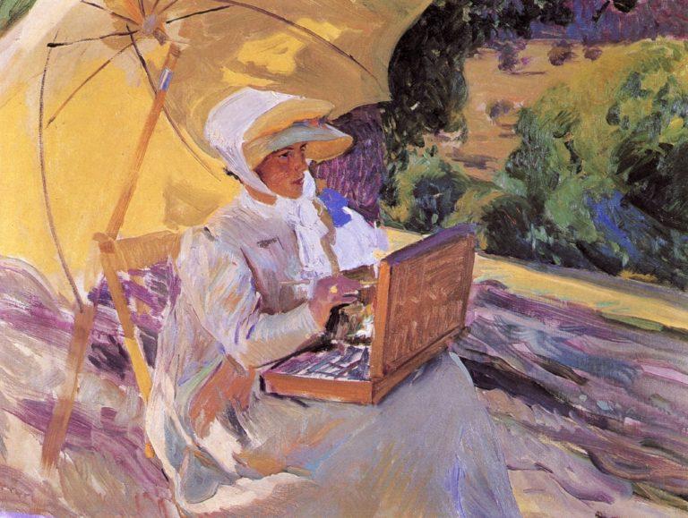 Maria Painting in El Pardo | Joaquin Sorolla y Bastida | oil painting