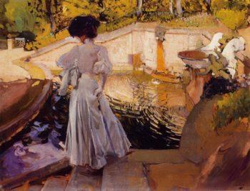 Maria Watching the Fish Granja | Joaquin Sorolla y Bastida | oil painting