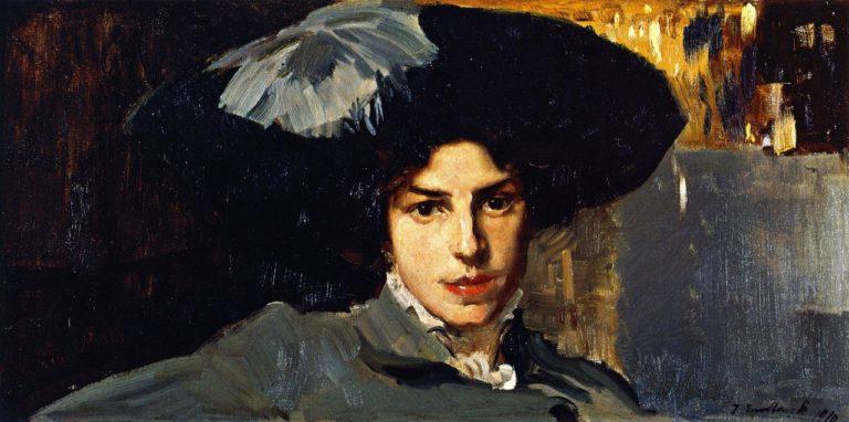 Maria with Hat | Joaquin Sorolla y Bastida | oil painting