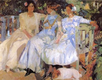 My Wife and Daughters in the Garden | Joaquin Sorolla y Bastida | oil painting