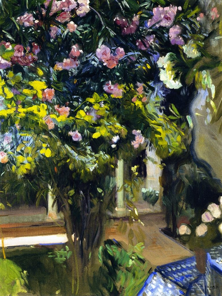 Oleanders in the Patio of the Sorolla House | Joaquin Sorolla y Bastida | oil painting