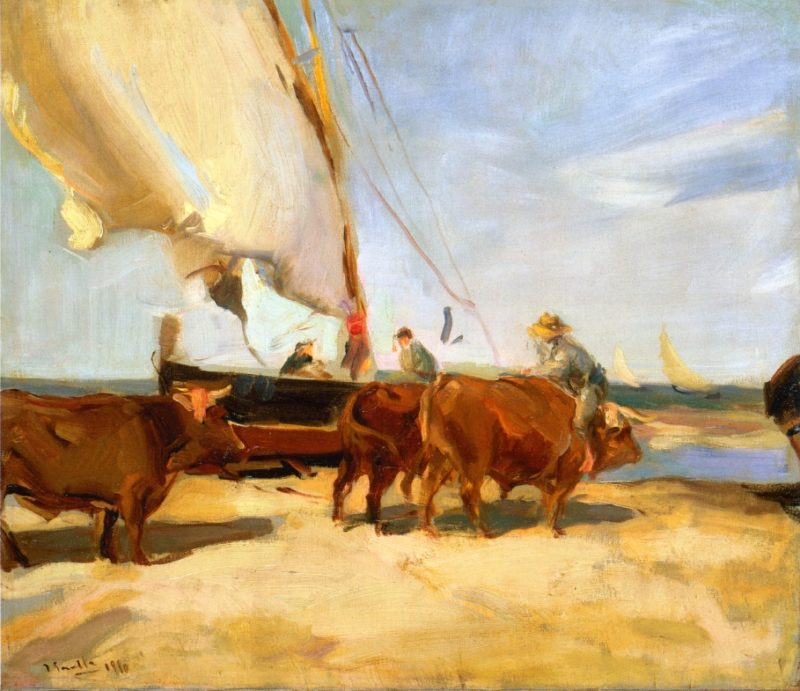 On the Beach at Valencia | Joaquin Sorolla y Bastida | oil painting
