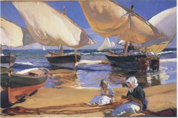 On the Beach at Valencia | Joaquin Sorolla y Bastida | oil painting