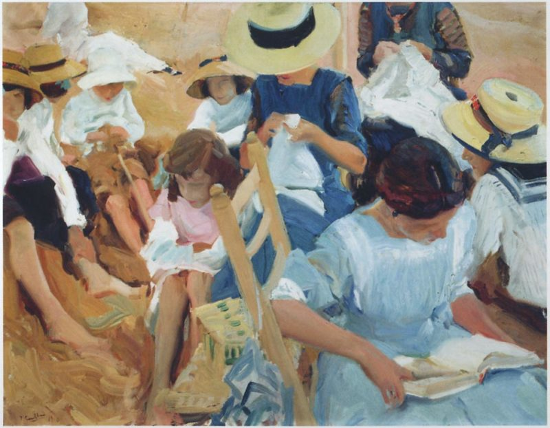 On the sands at Zarauz beach | Joaquin Sorolla y Bastida | oil painting