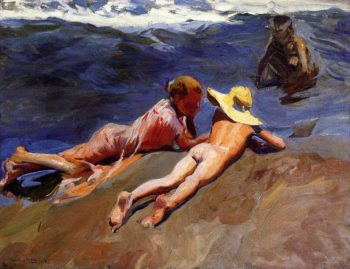On the Sand Valencia Beach | Joaquin Sorolla y Bastida | oil painting