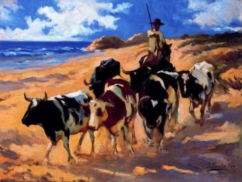 Oxen at the Beach | Joaquin Sorolla y Bastida | oil painting