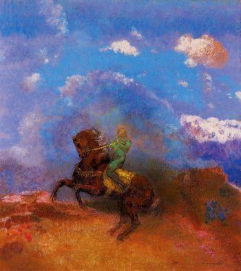 The Green Horseman   Odilon Redon   oil painting