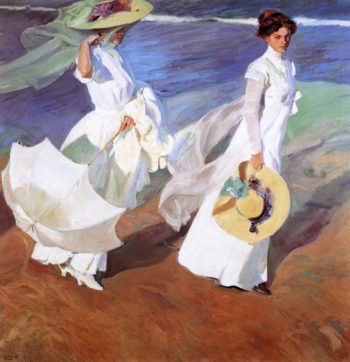 Promenade by the Sea | Joaquin Sorolla y Bastida | oil painting