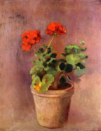The Pot of Geraniums | Odilon Redon | oil painting