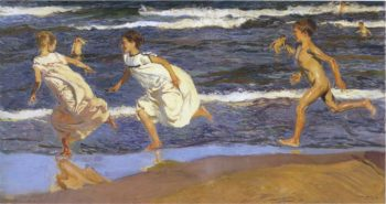 Running along the beach | Joaquin Sorolla y Bastida | oil painting