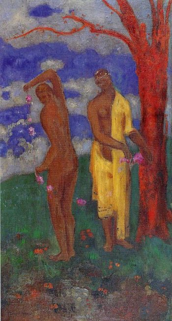 Two Women under a Red Tree | Odilon Redon | oil painting