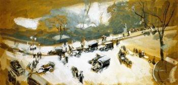 Snow in Central Park | Joaquin Sorolla y Bastida | oil painting