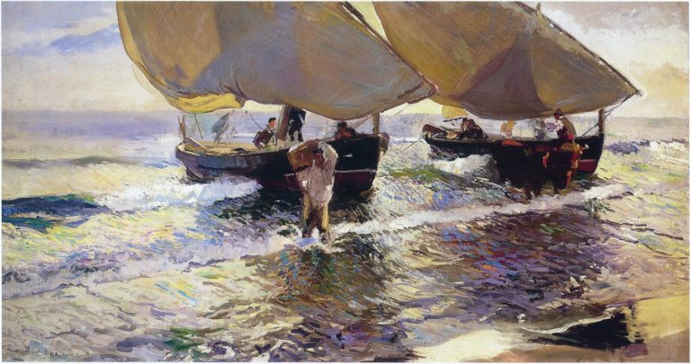 The arrival of the boats | Joaquin Sorolla y Bastida | oil painting