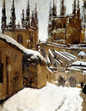 The Cathedral of Burgos under the Snow | Joaquin Sorolla y Bastida | oil painting
