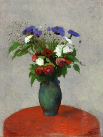 Vase of Flowers on a Red Tablecloth | Odilon Redon | oil painting