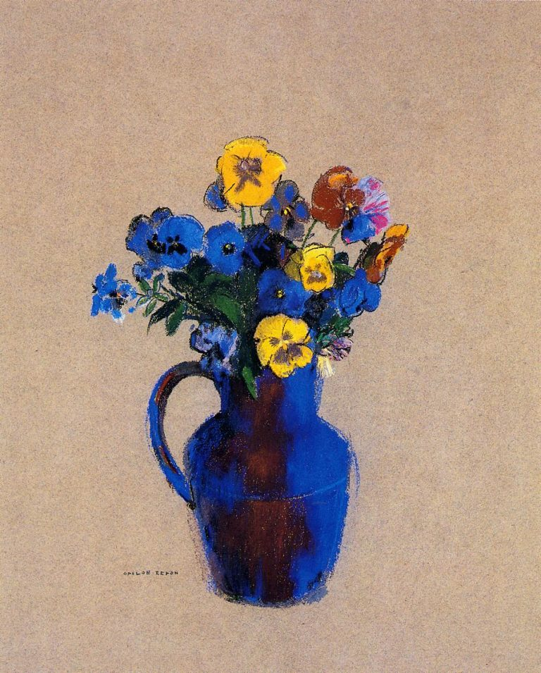 Vase of Flowers Pansies | Odilon Redon | oil painting