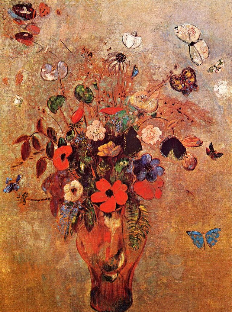 Vase with Flowers and Butterflies | Odilon Redon | oil painting