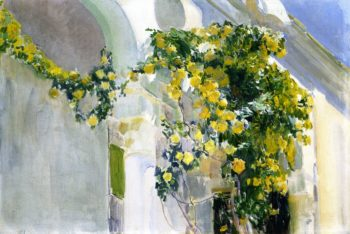 The Yellow Rosebush of the Sorolla House | Joaquin Sorolla y Bastida | oil painting