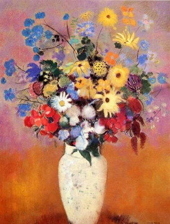 White Vase with Flowers | Odilon Redon | oil painting