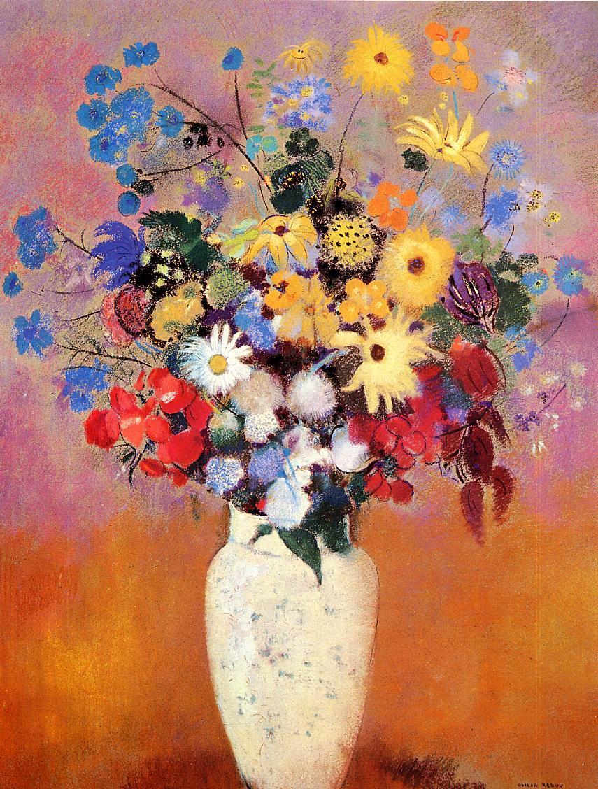 White Vase with Flowers   Odilon Redon   oil painting & White Vase with Flowers Painting   Odilon Redon Oil Paintings