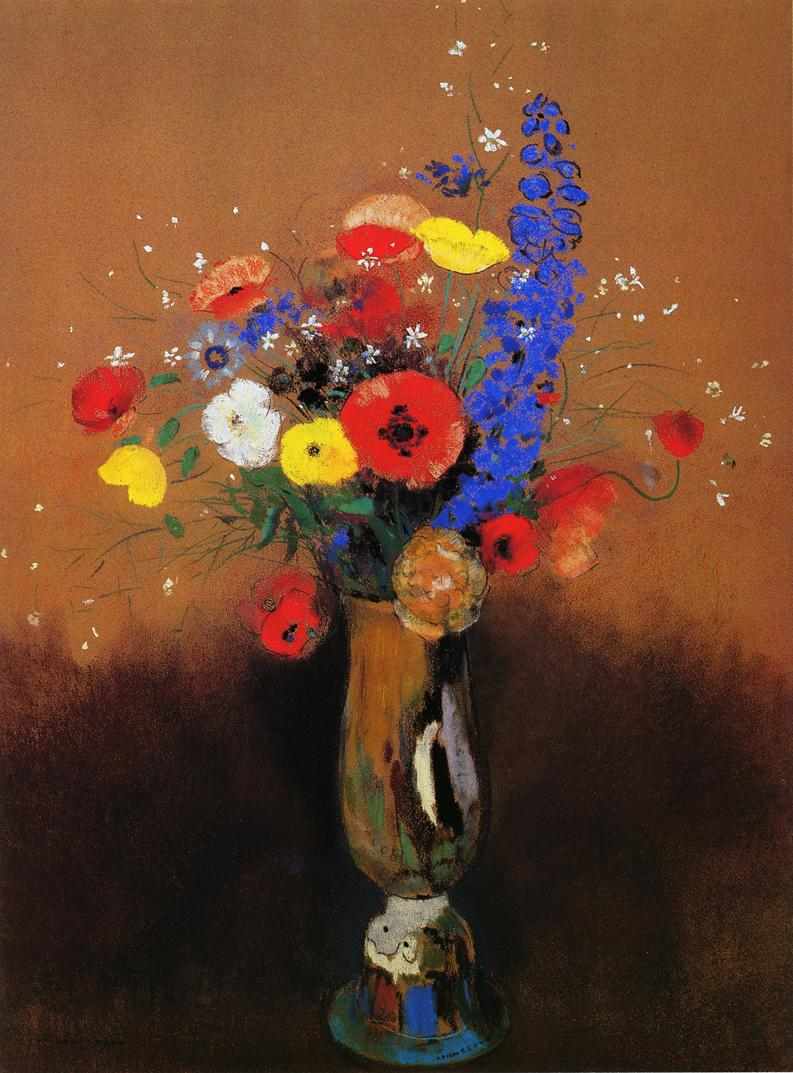 Wild Flowers in a Long Necked Vase | Odilon Redon | oil painting