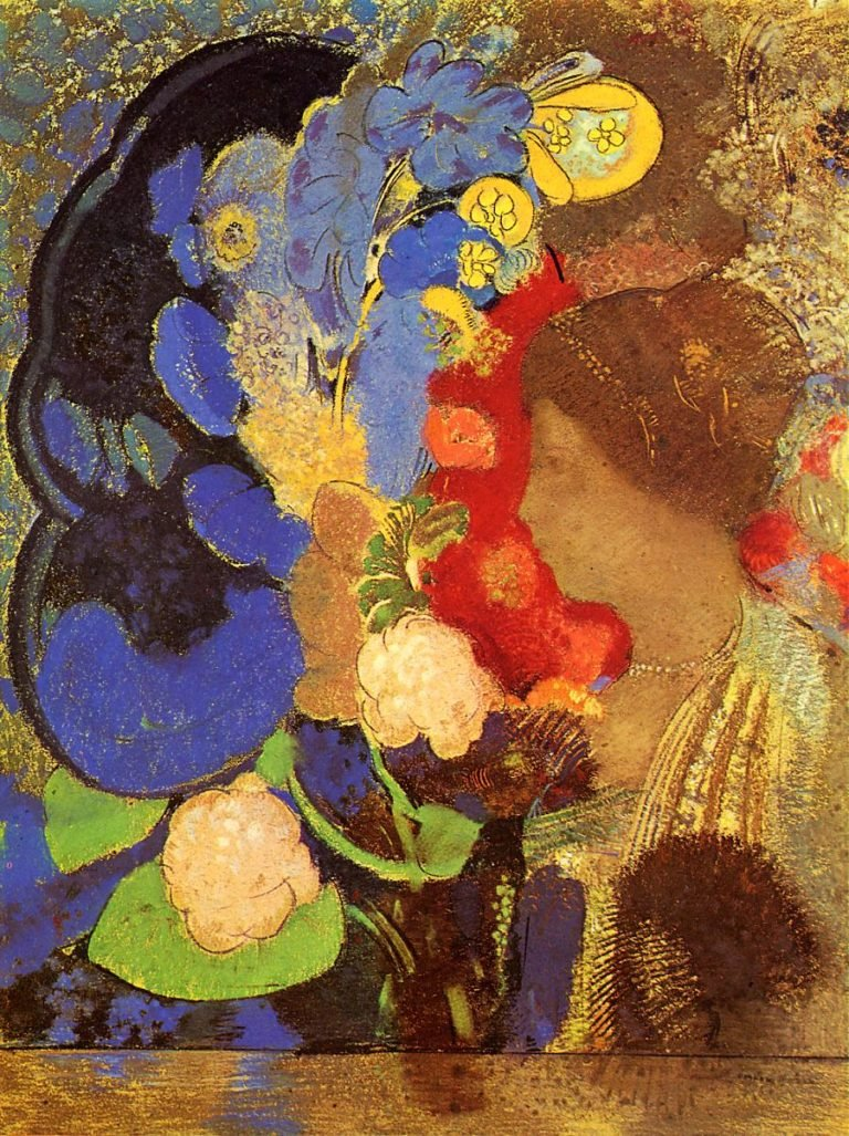 Woman among the Flowers | Odilon Redon | oil painting