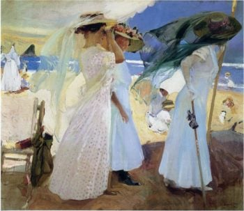 Under the awning Zarauz | Joaquin Sorolla y Bastida | oil painting