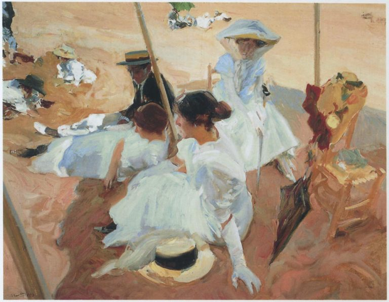 Under the sawning at Zarauz beach | Joaquin Sorolla y Bastida | oil painting