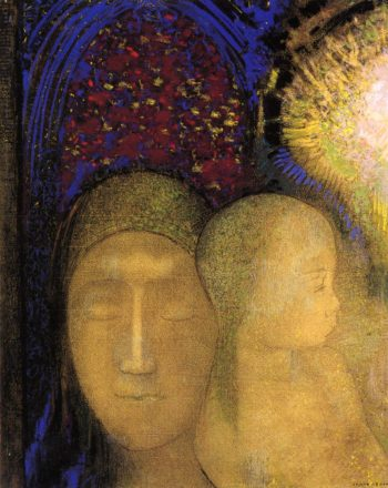 Woman and Child against a Stained Glass Background | Odilon Redon | oil painting