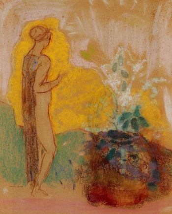 Woman and Stone Pot Full of Flowers | Odilon Redon | oil painting