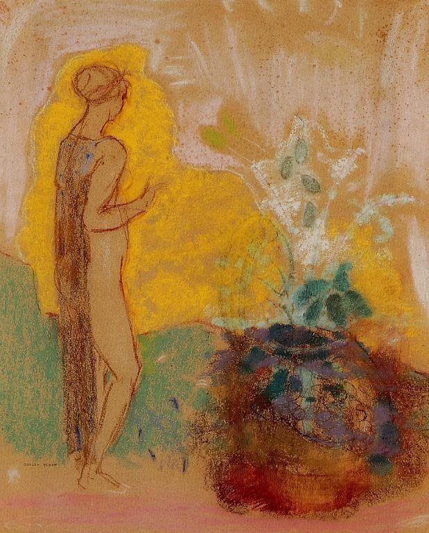 Woman and Stone Pot Full of Flowers   Odilon Redon   oil painting