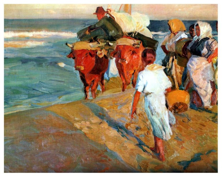 Valencia Beach Morning sun | Joaquin Sorolla y Bastida | oil painting