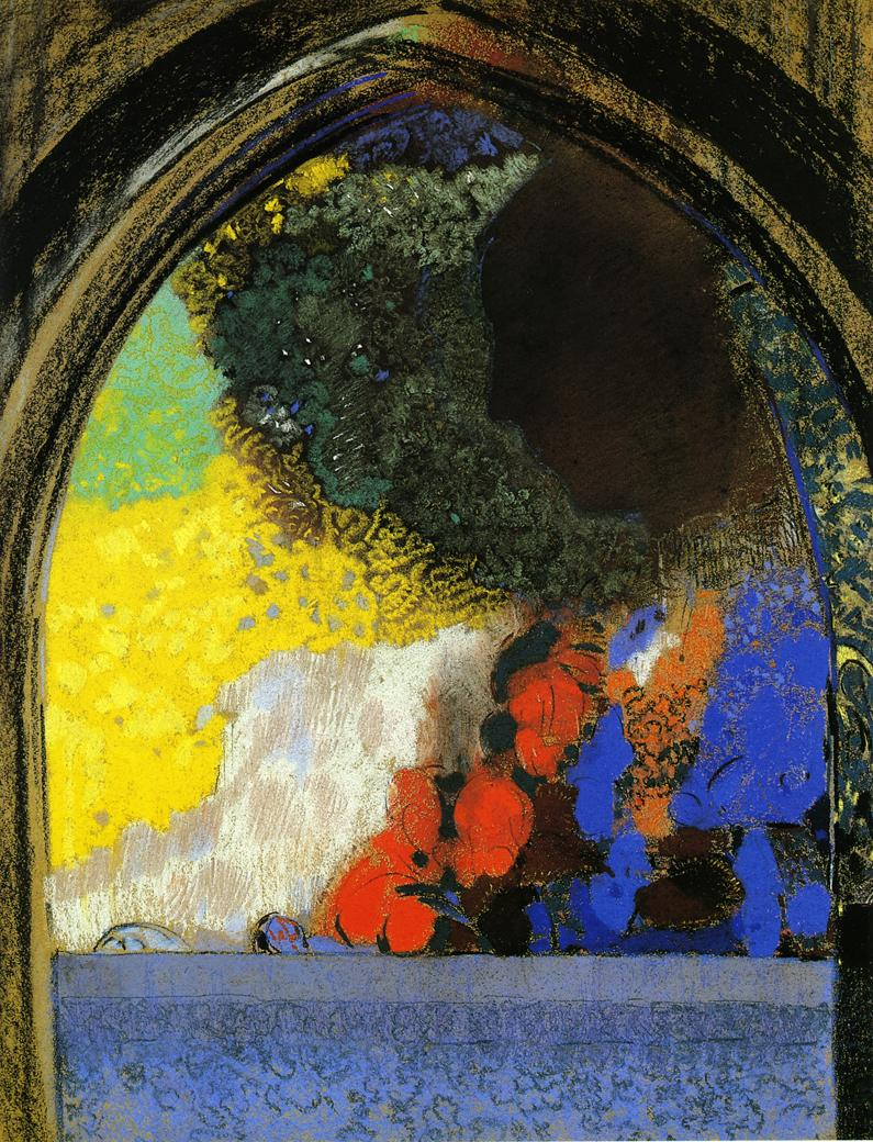 Woman in Profile under a Gothic Arch | Odilon Redon | oil painting