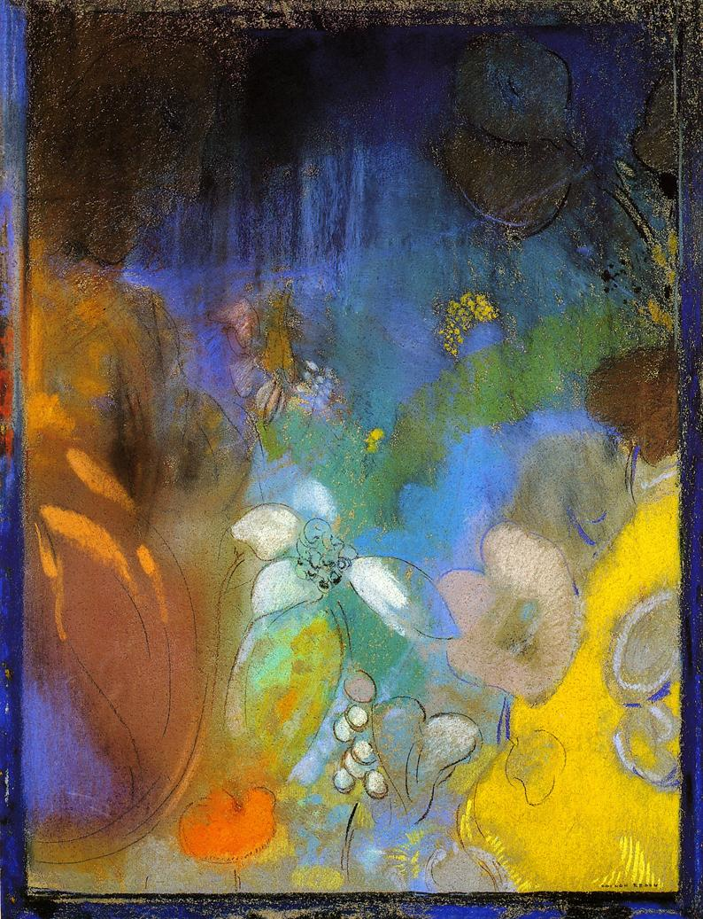 Woman in Profile with Flowers | Odilon Redon | oil painting