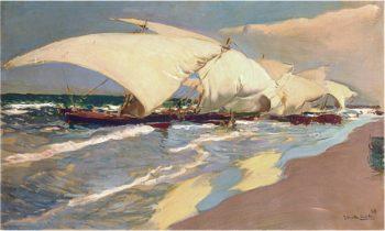 Valencian boats | Joaquin Sorolla y Bastida | oil painting