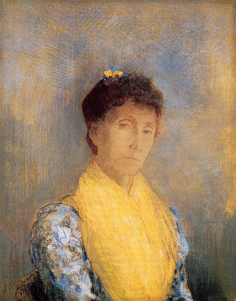 Woman with a Yellow Bodice | Odilon Redon | oil painting