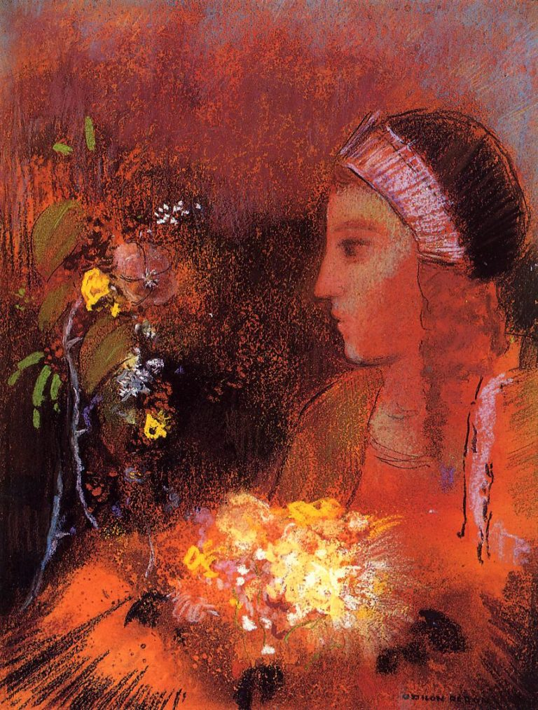 Woman with Flowers 1 | Odilon Redon | oil painting