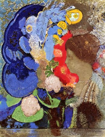 Woman with Flowers | Odilon Redon | oil painting