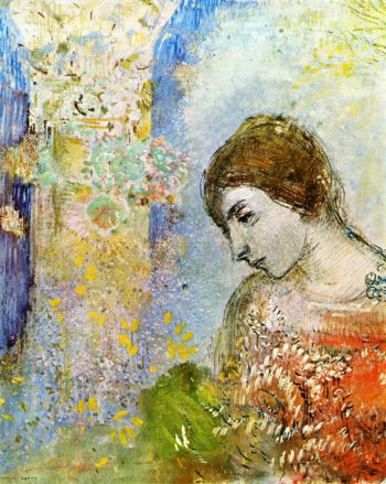 Woman with Pillar of Flowers | Odilon Redon | oil painting