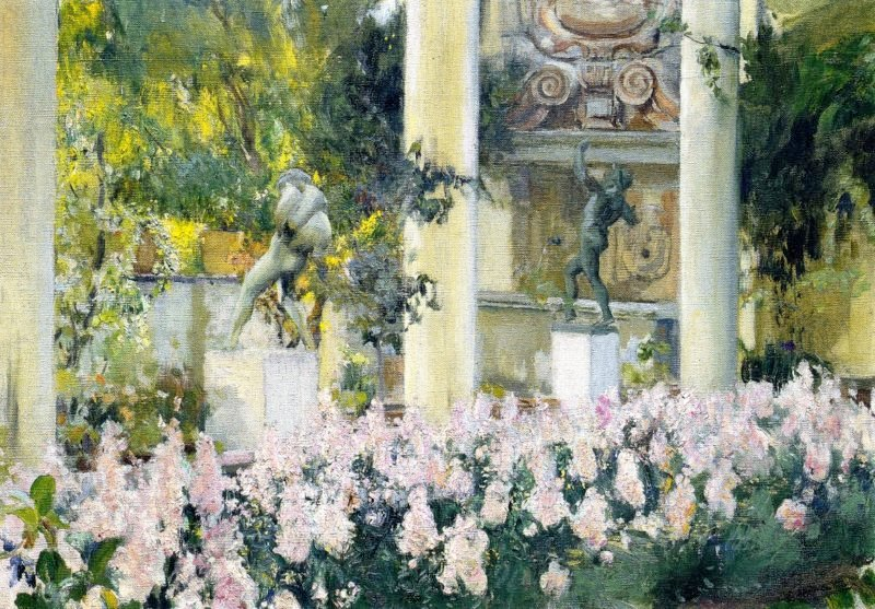 Wallflowers in the Garden of the Sololla House   Joaquin Sorolla y Bastida   oil painting