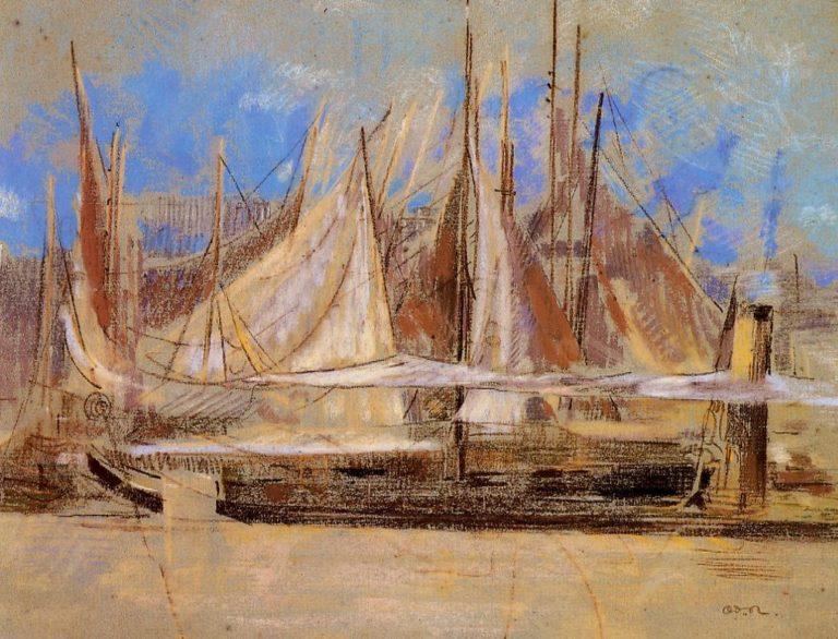 Yachts at Royan | Odilon Redon | oil painting