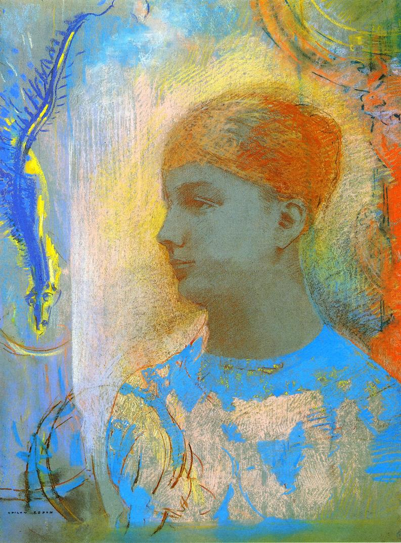Young Girl Facing Left | Odilon Redon | oil painting