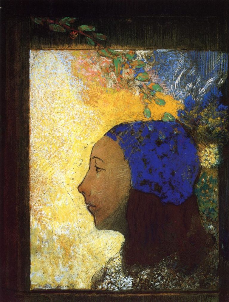 Young Girl in a Blue Bonnet | Odilon Redon | oil painting