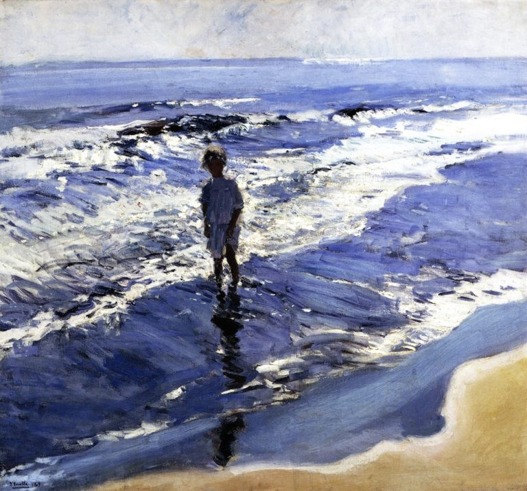 Young Girl in a Silvery Sea | Joaquin Sorolla y Bastida | oil painting