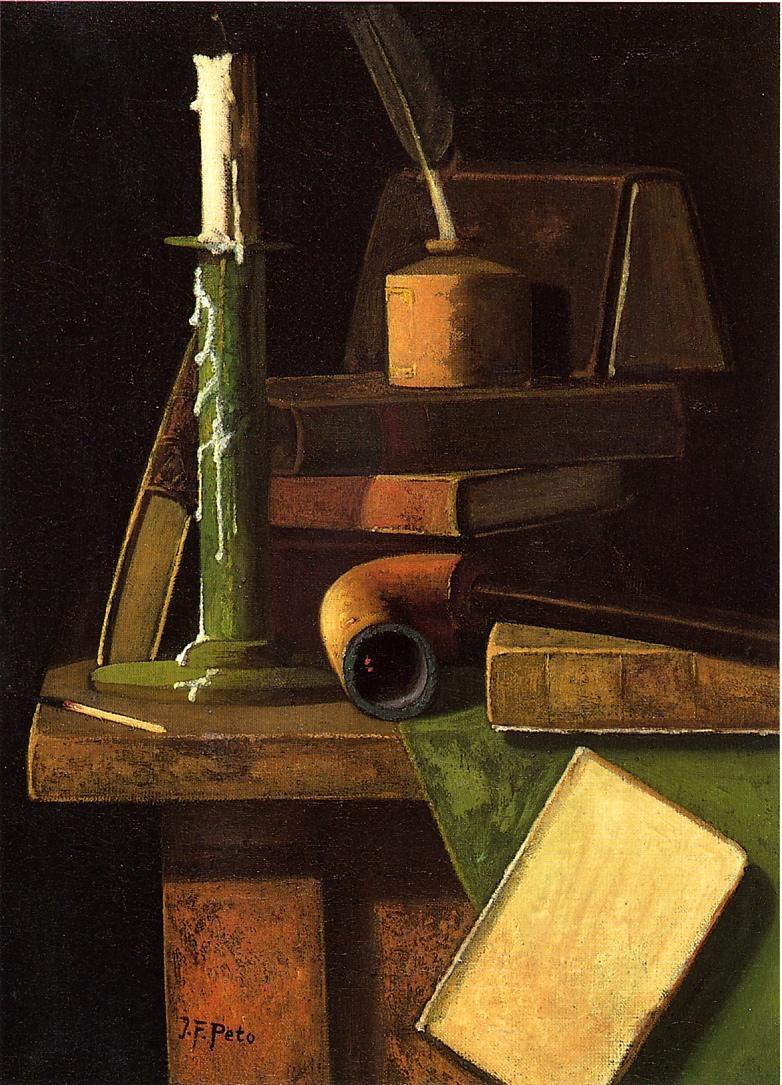 A Student's Desk   John Frederick Peto   oil painting
