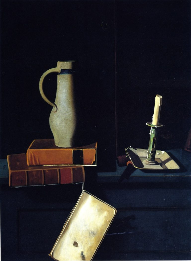 Jug Books and Candle on a Cupboard Shelf | John Frederick Peto | oil painting