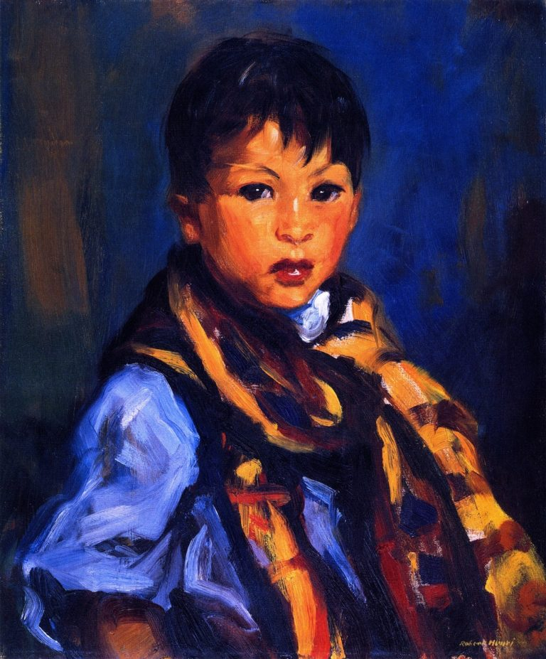 Boy with Plaid Scarf | Robert Henri | oil painting