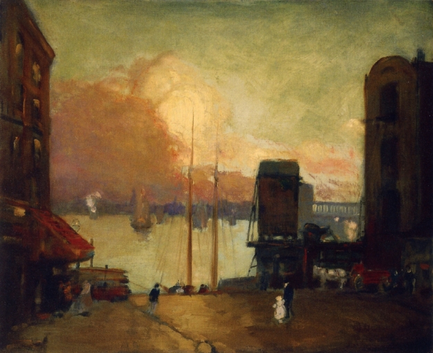Cumulus Clouds East River | Robert Henri | oil painting